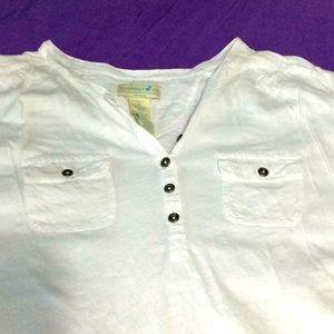 Caribbean Joe short sleeve white blouse.